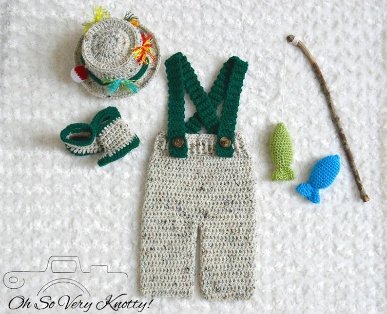 ddfcdb0b2ee Handmade Crochet Baby Fishing Fisherman 5 pc. Set Pants with