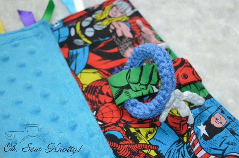 Tag Lovey Handmade Superheroes Avengers Baby Sensory Ribbon Security Blanket with crochet teething ring Soft MinkyHypoallergenic Cotton.