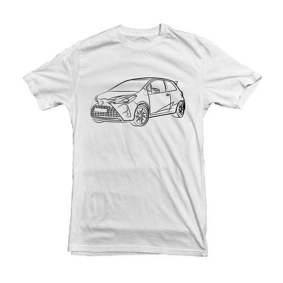 Toyota Yaaris Grmn 2018 Car Outline Tshirt For Toyota Owners Etsy