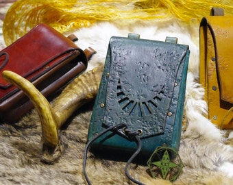 Leather belt purse with Moon