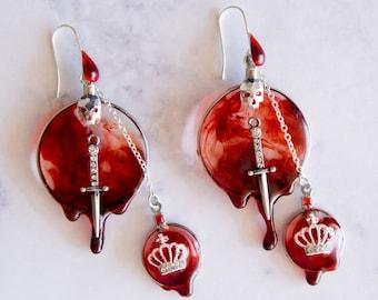 King Slayer, Blood in the water, vampire earrings, siren earrings, Bohemian earrings, statement earrings
