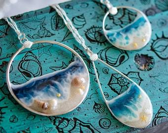 Glow in the Dark Ocean Pendants,  Ocean jewelry, Ocean wedding, Bridesmaids gift, bridal jewelry