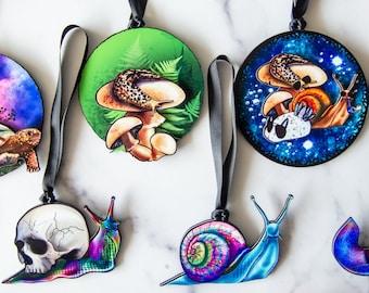 Gastropod Ornament Collection , Malacology Ornaments, Snail Ornament, Slug Ornament, Christmas Ornament, Slug love