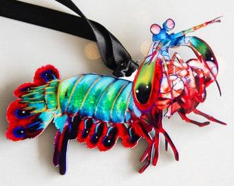 Peacock Mantis Shrimp, The Weird Stuff Ornament Collection 1, Manti Shrimp Ornament, Gift for Scuba Diver, Ocean Ornament, Sea Life