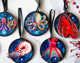 Cephalopod Ornament Collection  Orca ornament, Vampire Squid, Giant Pacific Octopus, Nautilus, Nautical Christmas Ornaments, Ocean