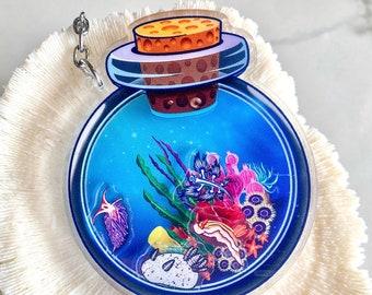 Magic Nudibranch Shaker Bottle, Ocean shaker bottle, coral reef, shaker, keychain, marine biology gift