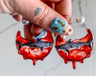 Blood in the water Shark Week, Ocean inspired, Ocean Hoop Earrings, Beach Earrings, Bohemian Hoops, statement earrings