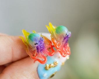 Rainbow Pride glow in the dark- octopus earrings, octopus jewelry, scuba diver gift, mermaid earrings, animal earrings