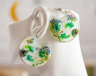 Glow in the Dark Magic Pond, Statement Hoops, Statement earrings, magical fairy spring earrings, pond earrings, serenity earrings