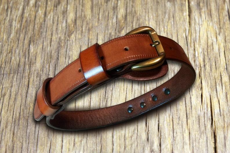 Italian Full Grain Leather Collar Made in Italy Dog Collar Handmade Leather Collar Artisanal Dog Collar Art.MISC065 Dog Leather Collar