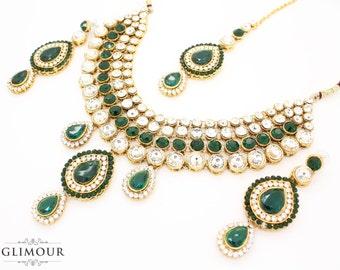 1669511af Beautiful Emerald Green Gold Silver Kundan Stone Indian Bollywood Necklace  Earring & Tikka Set Bridal Wedding Prom Indian Fashion. Glimour