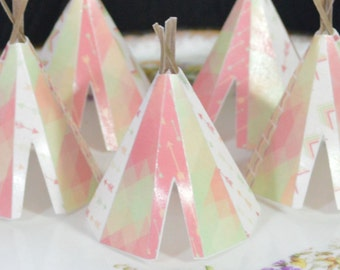 Edible Teepee's 3D 5 Boho Coral Spring Lime Tipi Wafer Paper Bohemian Wedding Cake Decoration Wild Rustic Birthday Cupcake Topper Cookie RTD
