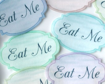 EAT ME Edible Alice in Wonderland Pastel Labels Wafer Paper Wedding Mad Hatter Tea Party Favours Drink Me Cake Decoration Cookie Toppers RTD
