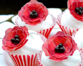 Edible Red Poppies x 10 3D Poppy Flowers Wafer Rice Paper Chocolate Candy Centres Wedding Cake Decorations Birthday Cupcake Toppers RTD