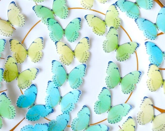 Edible 'Sea Beach' Butterflies Ombre Wafer Paper Yellow Lime Turquoise Cyan 3D Butterfly Summer Wedding Cake Topper Ocean Cupcake Decor RTD