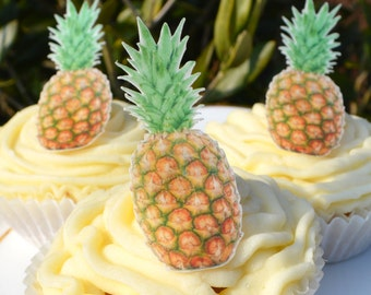 Edible Pineapples x30 Wafer Rice Paper Wedding Cake Decorations Cupcake Toppers Cookie Fruit Tropical Summer Beach Fruity Palm Tropics Ocean