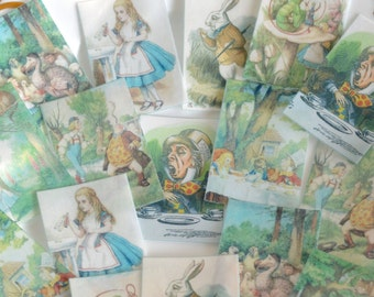 Edible Alice in Wonderland Set 1 Wafer Paper x 16 Wedding Cake Decorations Tea Party Cookie Toppers Birthday Mad Hatter Cupcake Favours RTD