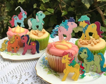 Edible My Little Pony Vintage G1 Figure Wafer Rice Paper MLP Retro Ice Crystal Gingerbread Cupcake Topper Wedding Cake Cookie Decoration RTD