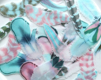 Edible Feathers Persian Azure Boho Winter Wedding Cake Decoration Wafer Rice Paper Pink Blue Aqua Rustic Birthday Cupcake Topper Cookies