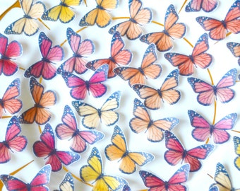 Edible 'Sunset' Butterflies Ombre Wafer Rice Paper Yellow Orange Pink Red Butterfly Wedding Cake Decoration Valentines Cookie Cupcake Topper