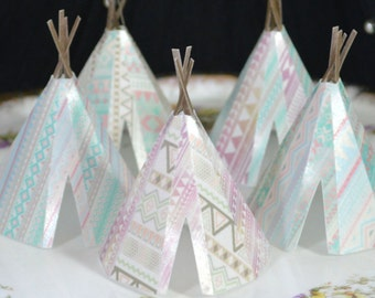 Edible Teepees 3D x5 Tribal Boho Pastels Tipi Wafer Paper Bohemian Wedding Cake Decorations Wild One 1st Rustic Birthday Cupcake Toppers