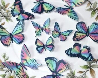 Edible Rainbow Butterflies Wafer Rice Paper 3D Butterfly Wedding Cake Decorations 1st Birthday Cupcake Toppers Baby Shower Cookies Decor RTD