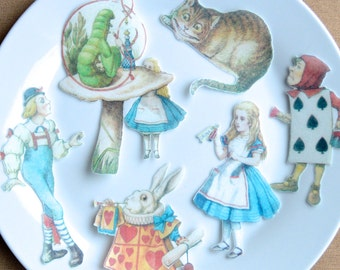 Edible Alice in Wonderland 6 XLarge Figures Set A Wafer Paper Cake Cupcake Cookie Topper Mad Hatter Tea Party Wedding Decoration Tenniel RTD