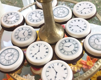 Edible Clock Faces Wafer Rice Paper Wedding Cake Decoration Steampunk Cupcake Cookie Topper Mad Hatter Alice Wonderland Tea Party Watch