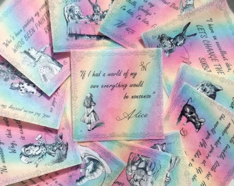 Edible Alice in Wonderland Quotes Sherbet Rainbow 12 Wafer Rice Paper Wedding Cake Decoration Mad Hatter Tea Party Cupcake Cookie Topper RTD
