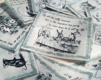 Edible Alice in Wonderland Quotes Grey Scale 12 Wafer Rice Paper Wedding Cookie Decorations Mad Hatters Birthday Tea Cake Cupcake Topper RTD