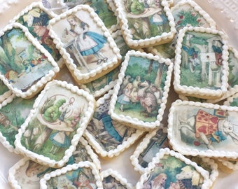 Edible Alice in Wonderland Wafer Rice Paper Wedding Cake Decorations Tea Party Biscuits Cookie Topper Birthday Mad Hatter Cupcake Favour RTD