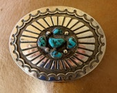 VINTAGE NAVAJO BUCKLE, Turquoise, Hand stamped, 44 Grams, Sterling Silver