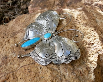 "Huge Exquisite Navajo Butterfly Brooch, Vintage, Signed & Stamped ""Sterling"""