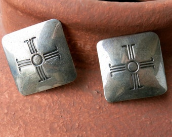 "VINTAGE SILVER EARRINGS, 4 Directions Cross. Signed & Stamped "" Sterling"", Clips"
