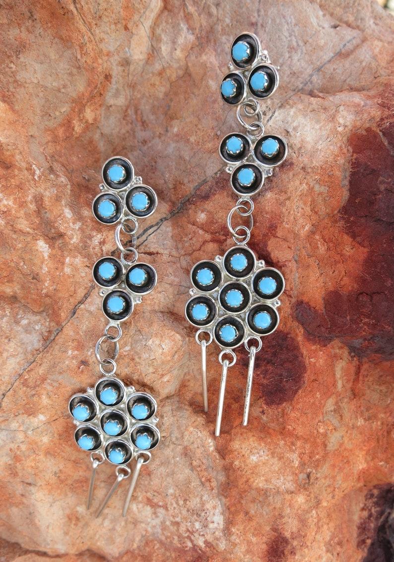 ZUNI PETIT POINT Chandelier Earrings Sterling 2 34 Long