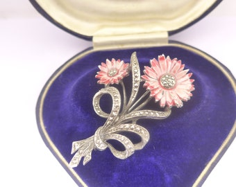 Vintage Black Enamel with Roses Metal /'Marcasite/' Collectible Button
