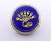 Antique Victorian French Mirror Glass Blue Silver Flat Top Gilt Metal Waistcoat Button - Verre de Eglomise