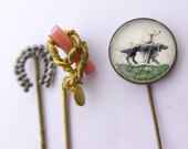 Collection Antique Victorian Coral Cut Steel Stick Pin Hatpin x 3