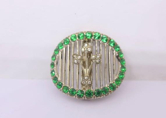 Vintage Art Deco Green Paste Silver Metal Buckle