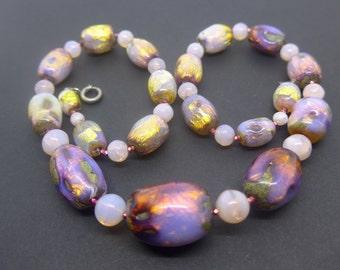 Vintage Venetian Opalescent Foil Glass Bead Necklace - Art Deco Pink Gold Foil Glass Beads