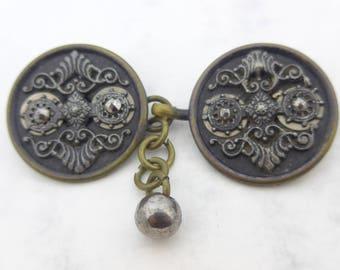 Antique Vintage Cut Steel Metal Button Buckle - Wonderful Victorian Converted  Buttons
