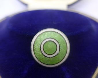 Vintage Sterling Silver Guilloche Enamel Button - Art Deco Mint Green White Enamel Button