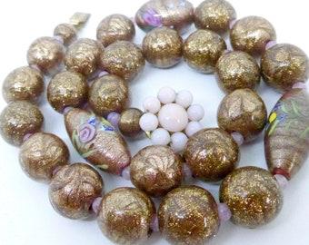 Vintage Venetian Feathered Goldstone Aventurine Feather Glass Bead Necklace - Art Deco Beads