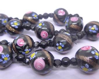 Vintage Venetian Fancy Flower Black Pink Aventurine Flower Glass Bead Necklace - Victorian Glass Beads