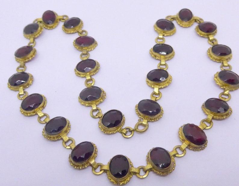 Edwardian Garnet Red Faceted Glass Gilt Metal Necklace Vintage Red Bezel Set Glass Necklace
