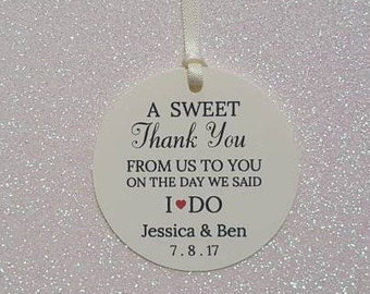 A Sweet Thank You WEDDING Favor Tags *IVORY & BLACK *From Us To You Wedding Favor Tags *I Do Favor Tags*Personalized
