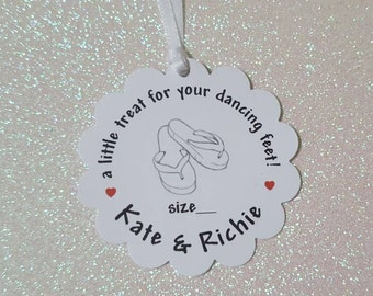 A Little Treat for Your Dancing Feet Flip-Flop Tags *Wedding Dancing Shoes Tag *Beach Wedding Flip-Flops *PERSONALIZED *
