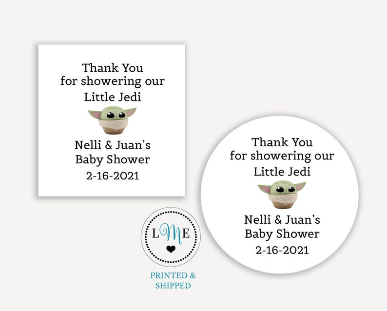 Little Jedi Baby Shower Stickers PRINTED Baby Yoda Sticker Labels PERSONALIZED Star Wars Baby Shower