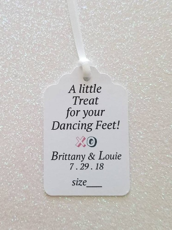 49c5f1c9a512eb A Little Treat for Your Dancing Feet  Wedding Dancing Shoes Beach Wedding   Flip-Flop Tags  PERSONALIZED