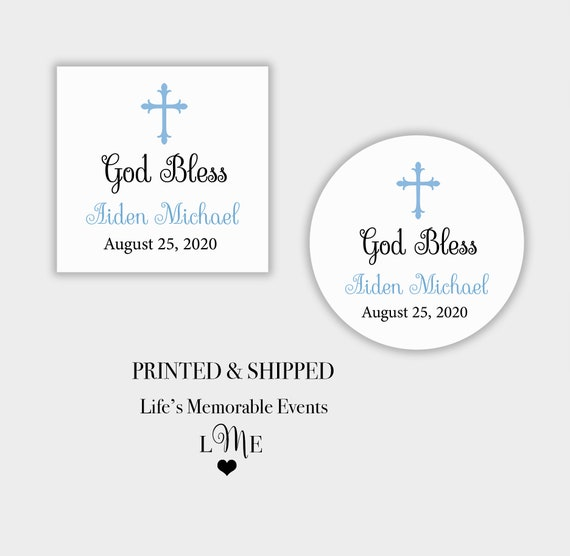 Baptism Stickers Boy God Bless Stickers Baptism Label for Boy Communion Stickers Religious Stickers Cross Sticker Baptism Stickers